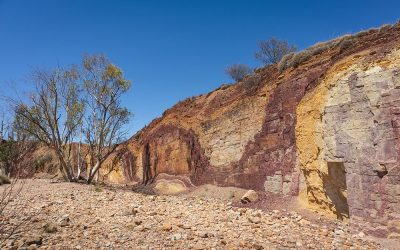 Ochre mine, used by aboriginal Australian as raw material for pa