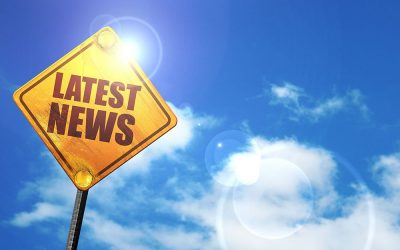 latest news, 3D rendering, glowing yellow traffic sign